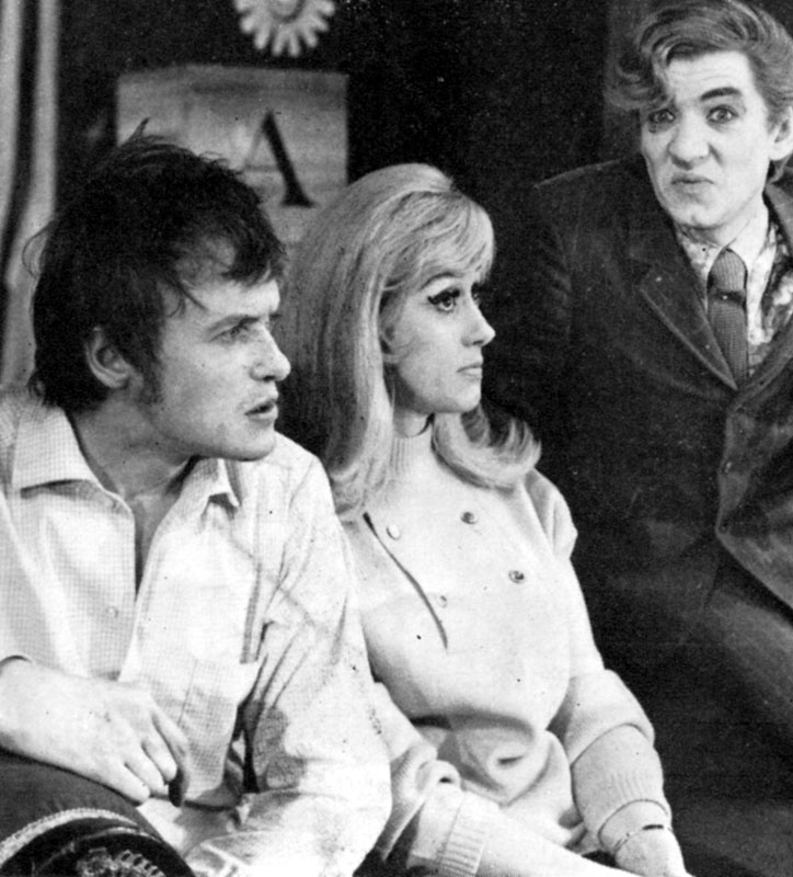 James Bolam as Brindsley Miller, Liz Fraser as Clea and Ian McKellen as Harold Gorringe, in BLACK COMEDY<br><em> </em>