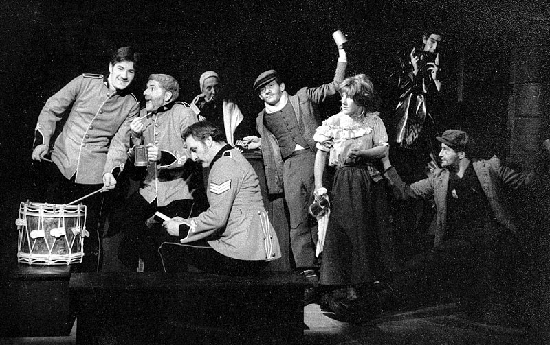 L to R: Ian McKellen, James Cairncross, Gabrielle Hamilton, Andrew Keir, Peter Griffin, Josie Kidd, Gawn Grainger, Mark Follett. <BR><BR><em>Despite the songs and occasional jollity, this was the most depressing play to act in &#151; we all agreed.</em>
