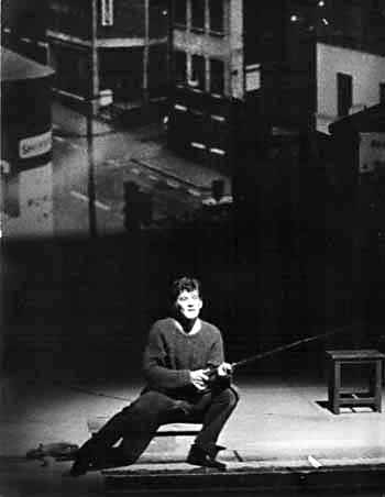 Final soliloquy, Arthur fishing in the canal off the front of the Nottingham stage<br /><em> </em>
