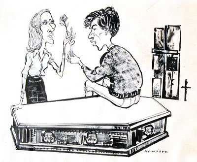 Cartoon: by Hewison in Punch Magazine: Jennifer Hilary (Zoe) and Ian McKellen (Godfrey) - I bought the original drawing which accompanied the Punch review, starting a collection of Hewison's work which I discontinued a decade or so later.<br