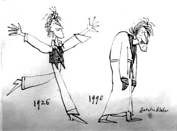 Cartoon by Quentin Blake in Punch.  This drawing, now in the possession of my sister Jean, amuses us both because the older figure reminds us of our paternal grandfather in his later years.<br><em>Quentin Blake</em>