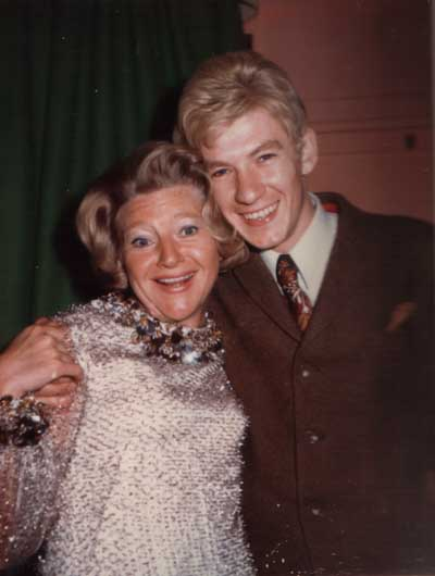 Meeting of the blondes! Dora Bryan celebrating her first year in Hello Dolly at Drury Lane Theatre, whose stage door was opposite ours at the Fortune.  One Saturday, in full make-up, she nipped between her shows to see ours from a private box.<br><em> </em>