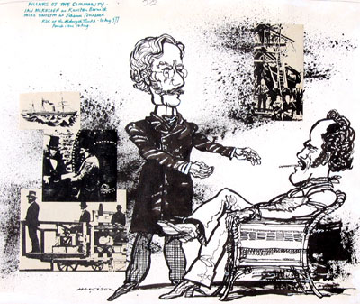 Hewison's cartoon for Punch (1 August 1977): Ian McKellen (Karsten Bernick) and Mike Gwilym (Johann Tonneson)<br><em>Hewison</em>