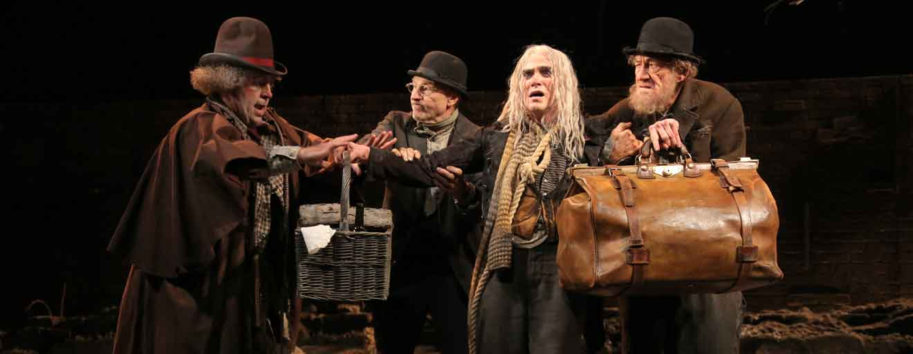 Pozzo (Shuler Hensley), Vladimir (Patrick Stewart), Lucky (Billy Crudup) and Estragon (Ian McKellen) in Waiting for Godot