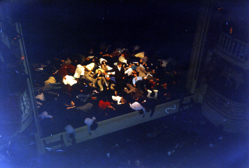 Scene from Henry V with volunteers on stage<br><em> </em>