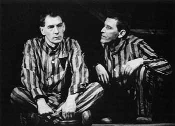 Ian McKellen (Max) and Tom Bell (Horst) meeting in Dachau<br /><em> </em>