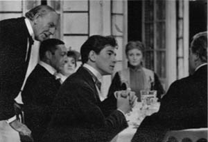 L to R: Allan Jeayes, John Scarborough, Bridget Turner, Ian McKellen, Sheila Keith, Ronald Magill. <BR><BR><em>The regular company was joined by Allan Jeayes (Walter, the waiter), a distinguished veteran from Alexander Korda's romantic British films.  Being nearly 80, he had trouble remembering his lines, although in this scene he singlehandedly se