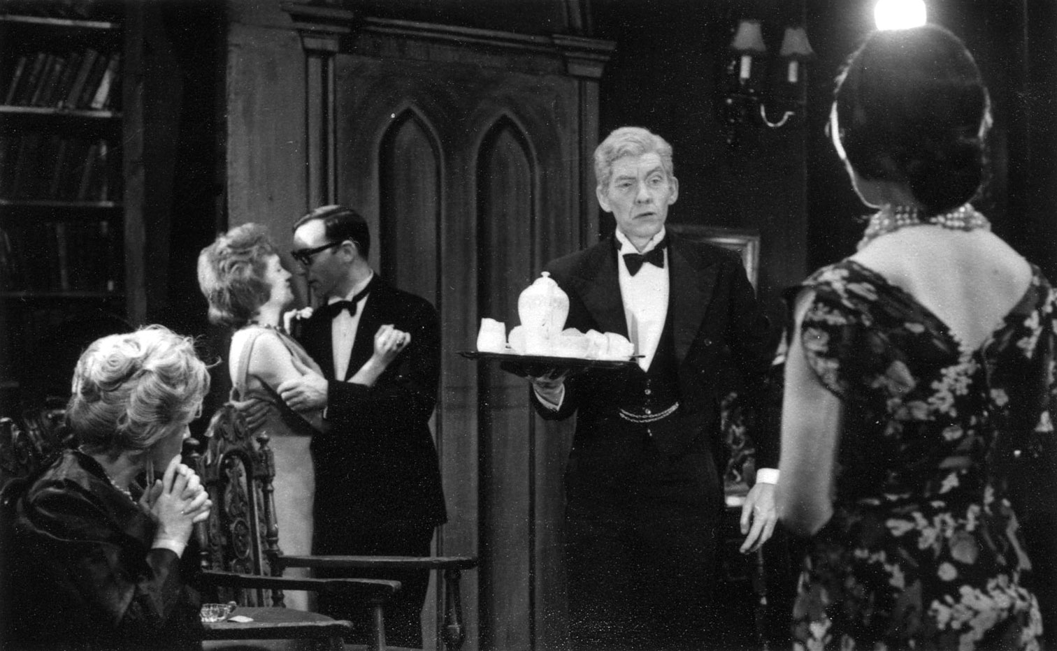 L to R: Bridget Turner, John Scarborough, Ian McKellen, Kristine Howarth.<BR><BR><em>I played the ancient butler (Tredwell) with hesitant