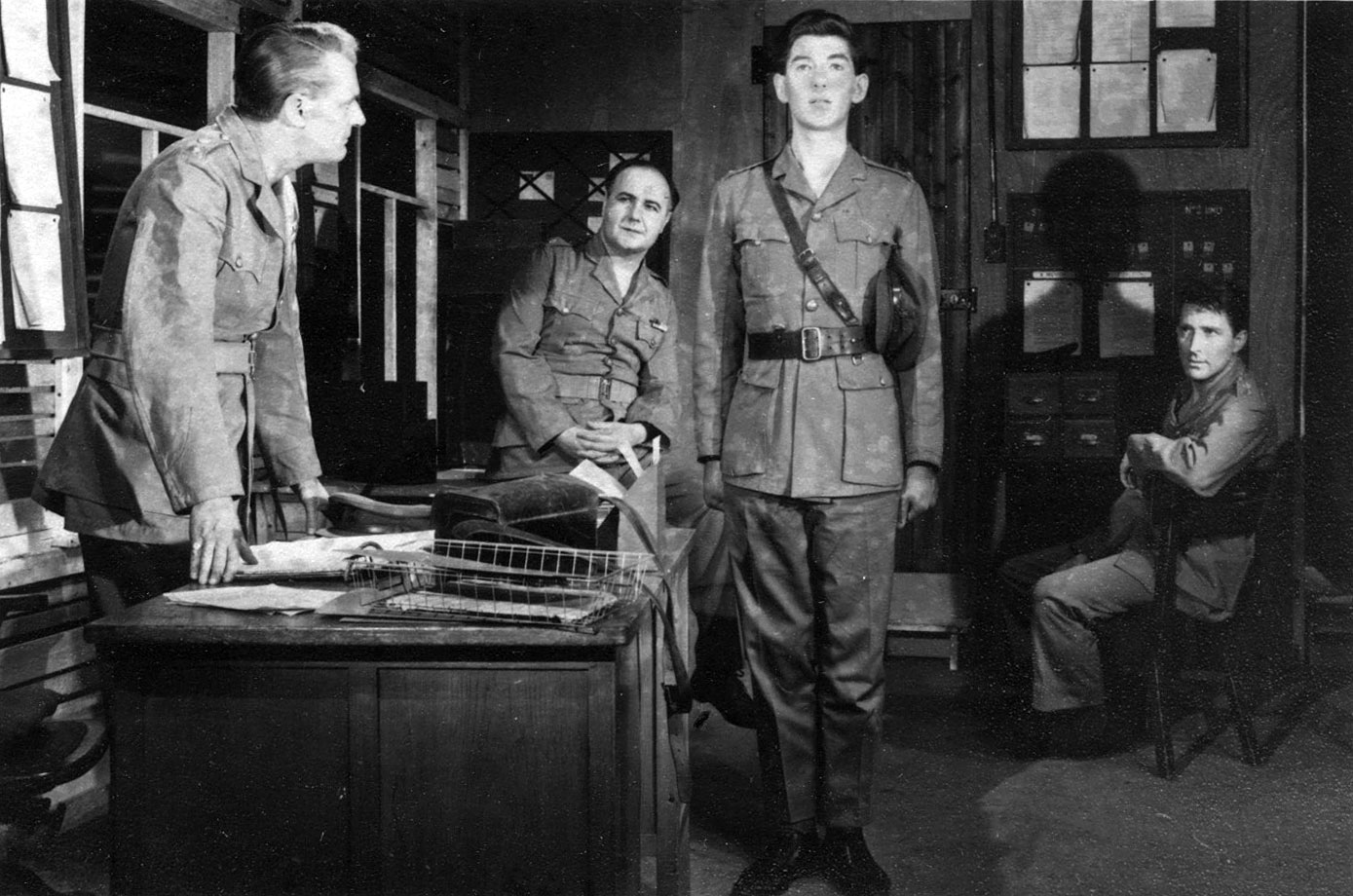 L to R: Richard Aylen, John Bryans, Ian McKellen, Mark Eden <BR><BR><em>''End of Conflict'' was my first time in military uniform onstage.  I learnt the basics of soldierly mien and drill, which have been constantly useful since.</em>