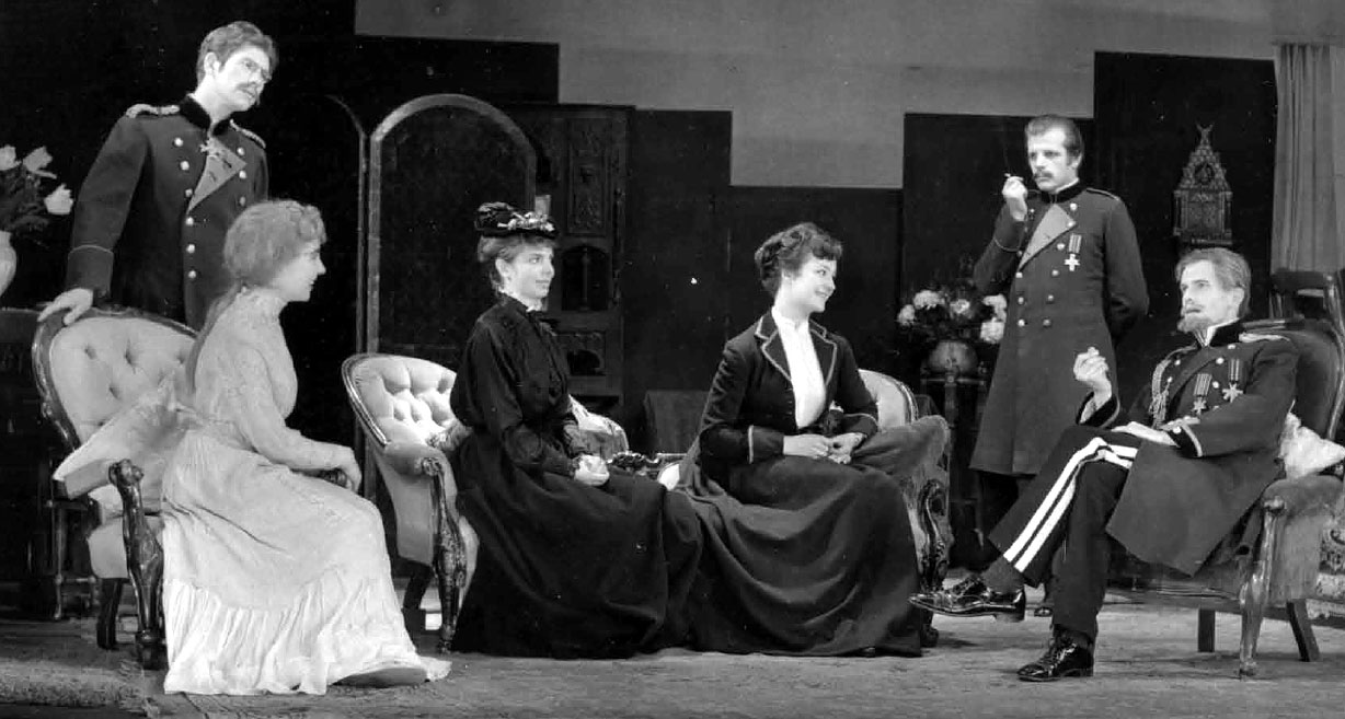 Life will be beautiful -- Act 1. L to R: Tuzenbach (Ian McKellen),  Irina, Masha (Margaret Drabble), Olga, Soliony (David Rowe-Beddoe), Vershinin (John Arnott)