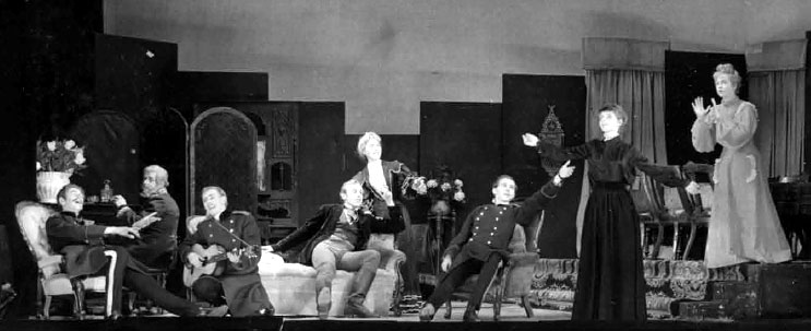 The Baron is drunk! -- Act 2. Tuzenbach (Ian McKellen) far left.<br><em> </em>