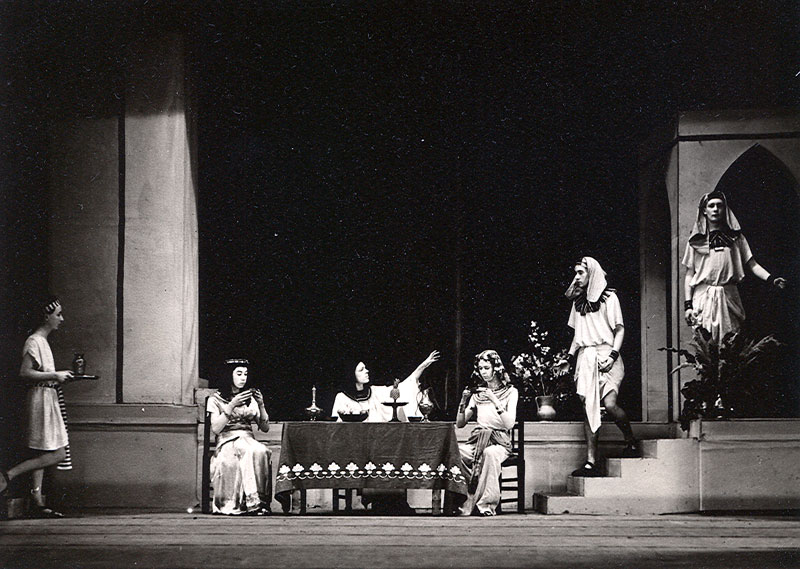 In Yusefs palace: But Highness, it is my Lord Potiphar -- Abdi; (Ian McKellen, seated left).<br><em>Percy C Rising</em>