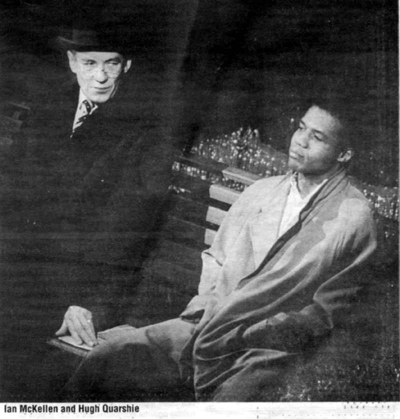 5 June 1988<br>Uncle Freddie (Ian McKellen) and Max (Hugh Quarshie) in a scene from Martin Shermans Bent for Before the Act gala to protest Section 28