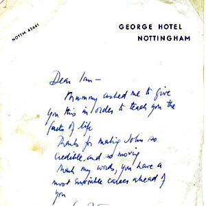 1964, THE LIFE IN MY HANDS: <em>Peter Ustinov had bought his first night gifts at Nottinghams Russian shop.  Mine was a collection of inter-connecting wooden dolls and, referring to my characters suspicion that he is illegitimate, the author sent me this very encouraging note.</em>