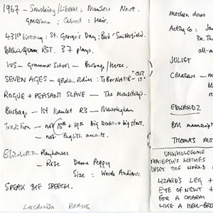 1995,   24 April<br>Notes for a performance given at a Gala celebration of Shakespeares birthday