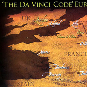 2006, THE DA VINCI CODE: Sovenir map, Eurostar train London-Cannes, 16 May 2006