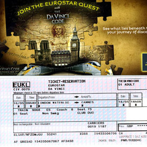 2006, THE DA VINCI CODE: Ticket and envelope for Eurostar journey from London to Cannes