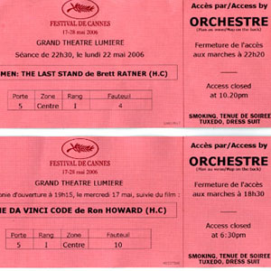 2006, THE DA VINCI CODE: Premiere screening tickets, Cannes 2006