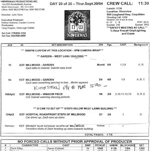 2004, NEVERWAS: Call sheet