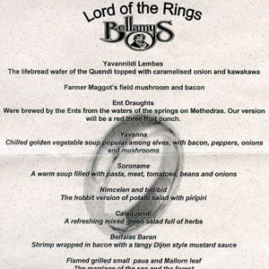 2003, THE LORD OF THE RINGS: RETURN OF THE KING: Menu, Parliamentary reception, Wellington premiere, 1 December 2003