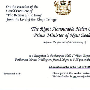 2003, THE LORD OF THE RINGS: RETURN OF THE KING: Invitation to pre-parade reception at Parliament House, Wellington, 1 December 2003