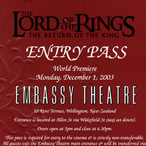 2003, THE LORD OF THE RINGS: RETURN OF THE KING: Wellington Premiere ticket