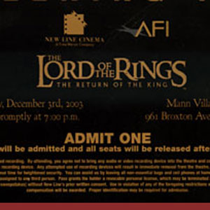 2003, THE LORD OF THE RINGS: RETURN OF THE KING: Los Angeles Premiere ticket