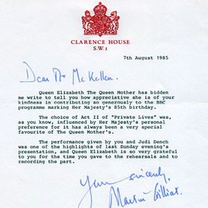 1985, DEAR AND HONOURED LADY: Letter from Clarence House