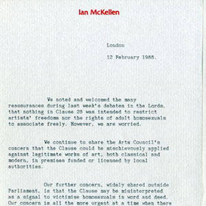 1988,   12 February 1988<br>Letter to Prime Minister from Ian McKellen, John Gielgud, and Judi Dench regarding Section 28