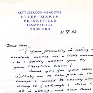 1988,   11 May 1988<br>Letter from Alec Guinness
