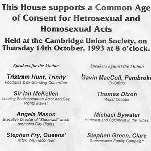 1993,   14 October 1993<br>Bill for Cambridge debate on Age of Consent