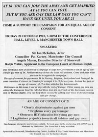 1993,    22 October 1993<br>Notice of meeting in Manchester regarding age of consent