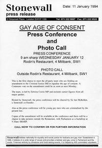 1994 1994,   11 January 1994<br>Stonewall press release regarding age of consent