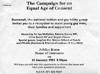 1994,   12 January 1994<br>Invitation to meeting at House of Commons regarding Age of Consent