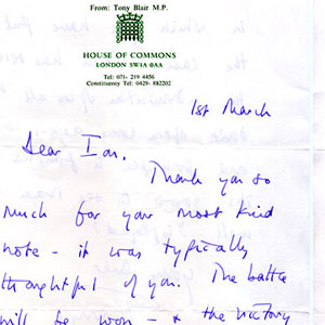 1994,   1 March 1994<br>Letter from Tony Blair regarding age of consent