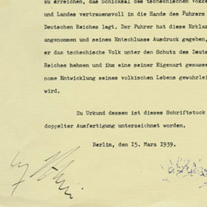 1989, COUNTDOWN TO WAR: Prop letter signed by Hitler