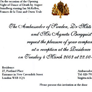 2003, DANCE OF DEATH (London/Sydney): Invitation to reception in honour of Opening Night, 4 March 2003