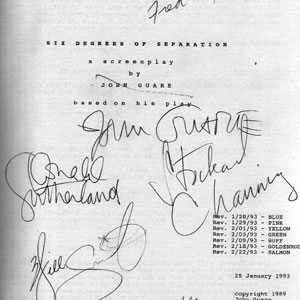 Title page of script signed writer John Guare, Director Fred Schepisi, and stars Donald Sutherland, Stockard Channing, Will Smith, and Ian McKellen
