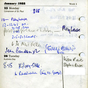 1988,   Diary page showing Arts Lobby activities on Monday 25 January 1988 and 7:00 Radio Interview on Wednesday 27 January, notable as the occasion when I came out publically.