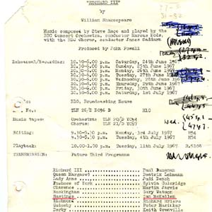 1967, RICHARD III (1968 radio): Production summary sheet