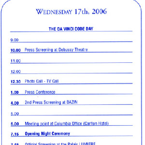 2006, THE DA VINCI CODE: THE DA VINCI CODE DAY calendar of events, 17 May 2006, Cannes