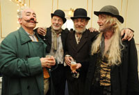 Simon Callow, Patrick Stewart, Ian McKellen, and Ronald Pickup, celebrating in the dressing room after the first night at Theatre Royal Haymarket<br /><span class='gal_credit'>Photo by David Bennet</span><br />2009