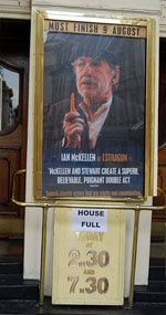 2009, WAITING FOR GODOT: Ian McKelllen as Estragon.  Poster outside Theatre Royal Haymarket  - Photo by Keith Stern