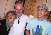 Ian McKellen, Sean Mathias, Paul de Lange, Green Room, Royal Haymarket Theatre, Following the final performance, 9 August 2009<br /><span class='gal_credit'>Photo by Keith Stern</span><br />2009
