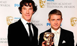Benedict Cumberbatch and Martin Freeman at the BAFTAs, Photo by Ian West/PA