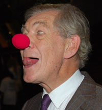 With a red nose for charity