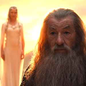 Gandalf the Grey with Galadriel in background