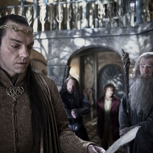 Elrond (Hugo Weaving) and Gandalf (Ian McKellen
