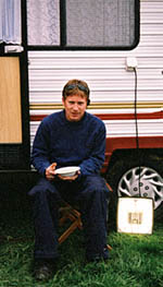 Matt Cutfield on duty outside Gandalf's dressing room trailer