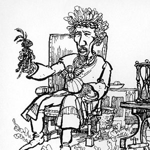 Hewison's cartoon in Punch: Dr. Faustus (Ian McKellen) holding hand puppets of      Good and Bad Angels as Mephistophiles (Emrys James) observes